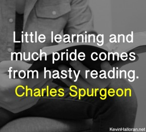 Charles Spurgeon Quote on Reading Books Knowledge Learning and Pride copy