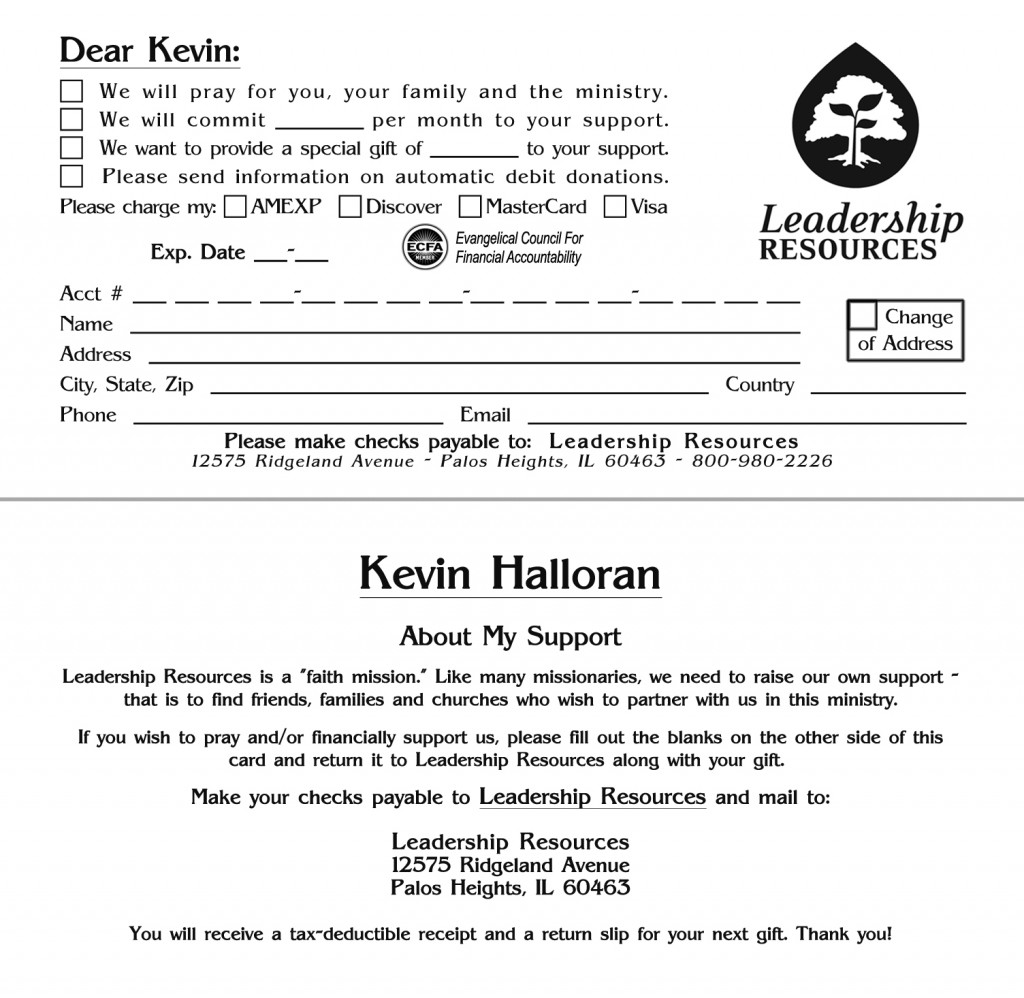 An Opportunity to Partner with Me in the Gospel